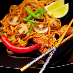 Noodles with Chicken and Mushrooms in Teriyaki Sauce